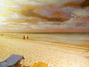 Bahamas Landscape Paintings - Caribbean beach by Odon Czintos