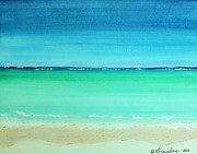 Calm Waters Prints - Caribbean Ocean Turquoise Waters Abstract Print by Robyn Saunders