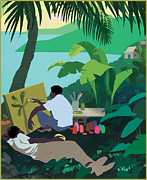 Jamaica Mixed Media Posters - Caribbean Painter Poster by Clifford Faust