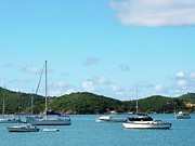 Sail Boats Framed Prints - Caribbean - Peaceful Sea St. Thomas Framed Print by Susan Savad