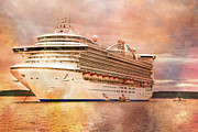 Boat Cruise Photo Posters - Caribbean Princess in a Different Light Poster by Betsy A Cutler East Coast Barrier Islands