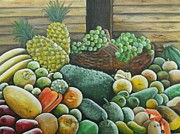 Soursop Framed Prints - Caribbean Produce Framed Print by Kenneth Harris