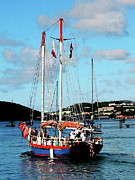 Boats Metal Prints - Caribbean - Red White and Blue Boat at St Thomas Metal Print by Susan Savad
