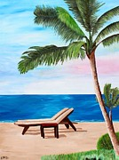 Palms Paintings - Caribbean Strand with Beach Chairs by M Bleichner