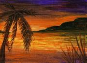 Ocean Shore Drawings Prints - Caribbean Sunset Print by Anastasiya Malakhova