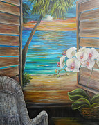 Caribbean Sea Paintings - Caribbean Sunset Shutters by Amy Brown