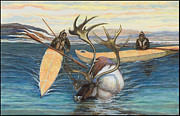 Caribou Hunters Print by Laureen McMullan