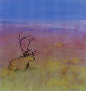 Sky Tapestries - Textiles Prints - Caribou on the Tundra Print by Carolyn Doe