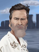 Caricature Paintings - Caricature of Bruce Campbell by Nathan Craig Cruz