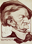 Portrait Drawings - Caricature of Richard Wagner by Anonymous