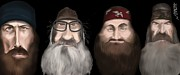 Duck Dynasty Framed Prints - Caricature of the Robertsons  Framed Print by Nathan Craig Cruz