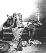Cartoon Drawings - Caricature of the Romantic Writer searching his inspiration in the Hashish by French School