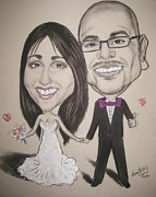 Wedding Day Framed Prints - Caricatures Framed Print by Anastasis  Anastasi