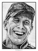 Baseball Portraits Drawings Posters - Carl Edwards in 2011 Poster by J McCombie