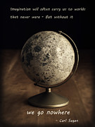 Planet Map Prints - Carl Sagan on Imagination Print by Edward Fielding