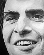 Portraits Tapestries Textiles Originals - Carl Sagan by Simon Kregar