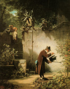 Caravaggio Posters - Carl Spitzweg Der Blumenfreund Poster by MotionAge Art and Design - Ahmet Asar
