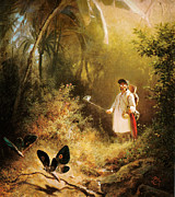 High Society Posters - Carl Spitzweg Der Schmetterlingsfanger Poster by MotionAge Art and Design - Ahmet Asar