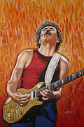 Rock And Roll Painting Posters - Carlos Fire Poster by Gary Kroman