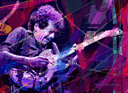 Rock Guitar Paintings - Carlos Santana Bends by David Lloyd Glover