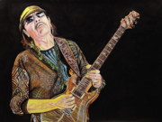 Guitarists Paintings - Carlos Santana by Chris Benice