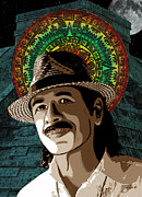 Carlos Framed Prints - Carlos Santana Mayan Prince Framed Print by Dancin Artworks