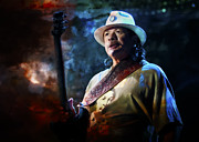 Carlos Prints - Carlos Santana on Guitar 1 Print by The  Vault