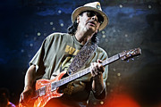 Carlos Prints - Carlos Santana on Guitar 2 Print by The  Vault - Jennifer Rondinelli Reilly