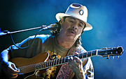 Music Metal Prints - Carlos Santana on Guitar 3 Metal Print by The  Vault - Jennifer Rondinelli Reilly