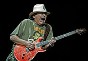 Concerts Framed Prints - Carlos Santana on Guitar 4 Framed Print by The  Vault