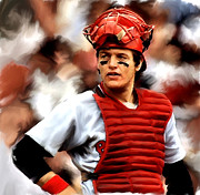 Photographs Drawings Posters - Carlton Fisk Poster by Iconic Images Art Gallery David Pucciarelli