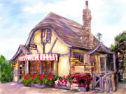 Charming Cottage Painting Posters - Carmel-By-The-Sea Poster by Judith Huth