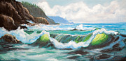 National Park Mixed Media Prints - Carmel California Pacific Ocean Seascape Painting Print by Nadine and Bob Johnston