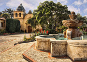 Courtyards Prints - Carmel Mission and Fountain II Print by Sharon Foster