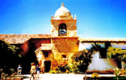 Dome Paintings - Carmel Mission Bell Tower by Jerry  Grissom