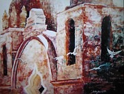 Building Exterior Mixed Media - Carmel Mission by John  Svenson
