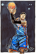 Knicks Drawings Framed Prints - Carmelo Anthony Framed Print by Dave Olsen