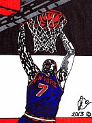 Knicks Drawings Framed Prints - Carmelo Anthony Framed Print by Jeremiah Colley