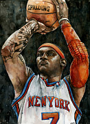 Basketball Sports Mixed Media Prints - Carmelo Anthony Print by Michael  Pattison
