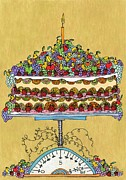 Purple Grapes Drawings - Carmen Miranda - Fresh Fruit Cake by Mag Pringle Gire