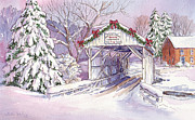 Snow Covered Pine Trees Paintings - Carmichaels Covered Bridge by Leslie Fehling