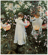 Singer Painting Metal Prints - Carnation Lily Lily Rose Metal Print by John Singer Sargent