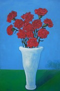 Catherine White Painting Metal Prints - Carnations by Flavia Deluce Metal Print by Catherine Rose Chiara