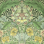 Fabric Art Tapestries - Textiles Posters - Carnations Design Poster by William Morris