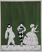 Trio Painting Posters - Carnaval Poster by Georges Barbier