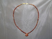 French Jewelry Originals - Carnelian necklace sunstone drop by Jan Durand