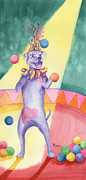 Circus. Paintings - Carnival Canine by Rhonda Leonard