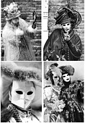 Venice Masks Prints - Carnival Collage Print by John Rizzuto