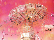 Surreal Hot Pink Yellow Carnival Rides Prints - Carnival Ferris Wheel Hot Pink Surreal Fantasy Ferris Wheel Carnival Art Hot Pink Print by Kathy Fornal