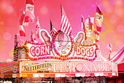 Summer Festival Art Posters - Carnival Festival Photos - Dreamy Hot Pink Orange Carnival Festival Fair Corn Dog Lemonade Stand Poster by Kathy Fornal